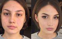 фотография девушки с макияжем и без