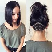Выбрито сзади у девушек с длинными волосами